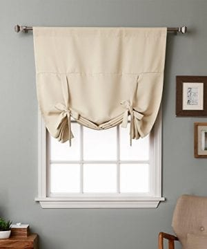 Rose Home Fashion Thermal Insulated Blackout Balloon Curtain For Small Window Rod Pocket Adjustable Tie Up Balloon Shade Curtains Beige 42 By 63 Inches 0 300x360
