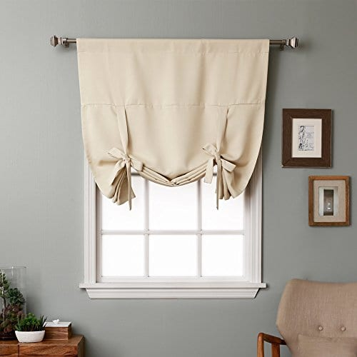 Rose Home Fashion Thermal Insulated Blackout Balloon Curtain For Small Window Rod Pocket Adjustable Tie Up Balloon Shade Curtains Beige 42 By 63 Inches 0