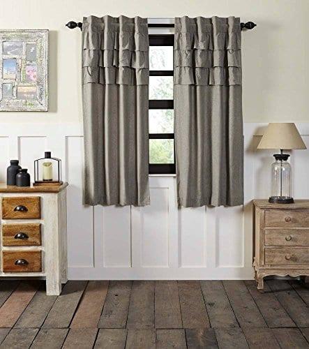 Ruffled Chambray Grey Curtains 0