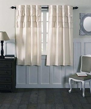Ruffled Chambray Natural Lined Panel And Drape Farmhouse Style 0 0 300x360