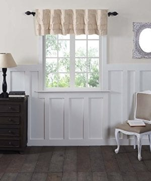 Ruffled Chambray Natural Lined Valance Tiers Farmhouse Style 0 0 300x360