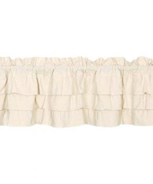 Ruffled Chambray Natural Lined Valance Tiers Farmhouse Style 0 1 300x360