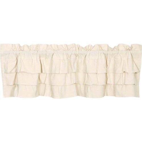 Ruffled Chambray Natural Lined Valance Tiers Farmhouse Style 0 1