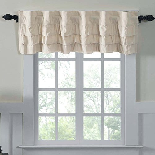 Ruffled Chambray Natural Lined Valance Tiers Farmhouse Style 0