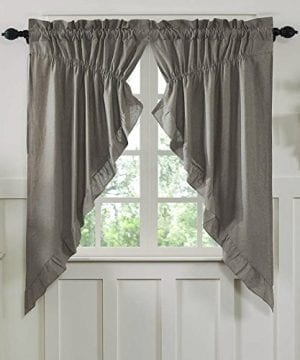 Ruffled Chambray Prairie Curtain Farmhouse Style 0 300x360