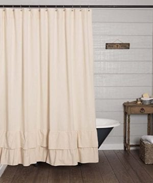 Ruffled Chambray Shower Curtain Farmhouse Style 0 300x360