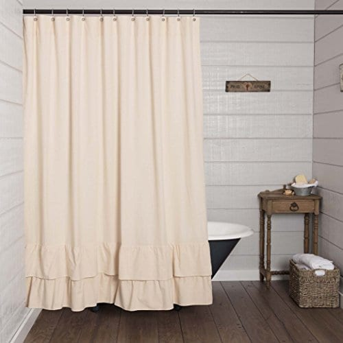 Ruffled Chambray Shower Curtain Farmhouse Style 0