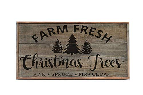 Ruskin352 Farm Fresh Christmas Tree Sign Large Farmhouse Sign Holiday Wood Sign Plaque Decor Christmas Sign Christmas Farmhouse Goals