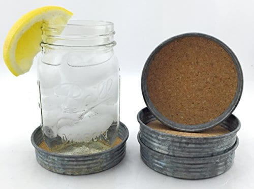 Rustic Style Wide Mouth Mason Jar Lid Coasters Set Of 4 By Ameli Decor 0 1
