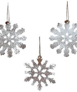 Rustic Tin White Sparkle Snowflake Ornaments Set Of 12 Christmas By Oriental Trading Company 0 300x360