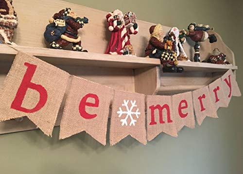 SS Cohen Merry Christmas Burlap Banner Bunting Photo Props Garland Xmas Home Party Decorations 0