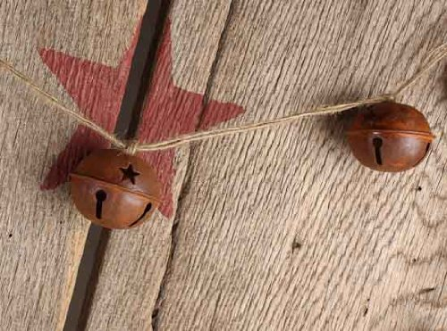 Set Of 4 Rusted Metal Large Jingle Bell On Jute Ribbon Christmas Garlands Total Of 16 Feet 0 1