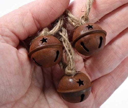 Set Of 4 Rusted Metal Large Jingle Bell On Jute Ribbon Christmas Garlands Total Of 16 Feet 0 2