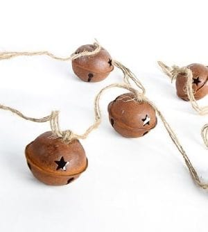 Set Of 4 Rusted Metal Large Jingle Bell On Jute Ribbon Christmas Garlands Total Of 16 Feet 0 300x334
