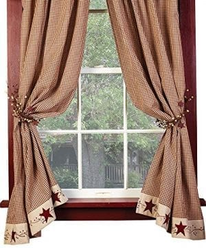 The Country House Collection Burgundy Check Stars And Berries Country Curtain Panels 63 84 Lengths 0 300x360