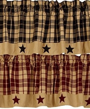 The Country House Collection Primitive Farmhouse Star Appliqued Lined Valance Black Tan Burgundy 0 300x360