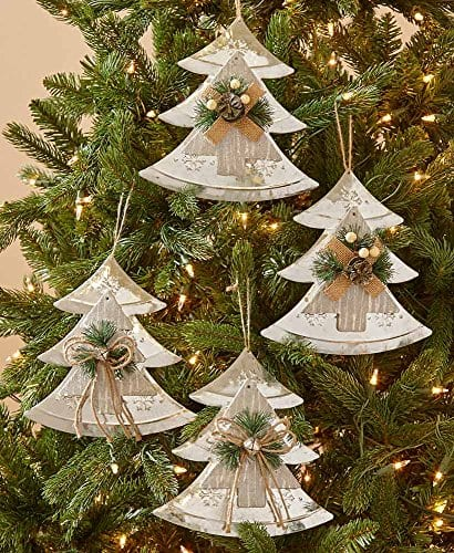 Country Christmas Ornaments.The Lakeside Collection Set Of 4 Farmhouse Country Christmas Oversized Tree Ornaments