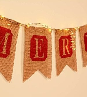 ThxToms Merry Christmas Burlap Banner Red Decor For Mantel Tree Yard Door 0 0 300x337