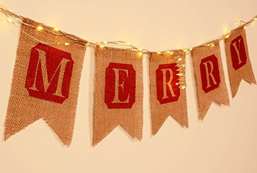 ThxToms Merry Christmas Burlap Banner Red Decor For Mantel Tree Yard Door 0 0