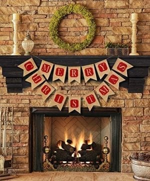 ThxToms Merry Christmas Burlap Banner Red Decor For Mantel Tree Yard Door 0 1 300x360