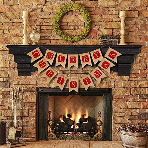 ThxToms Merry Christmas Burlap Banner Red Decor For Mantel Tree Yard Door 0 1