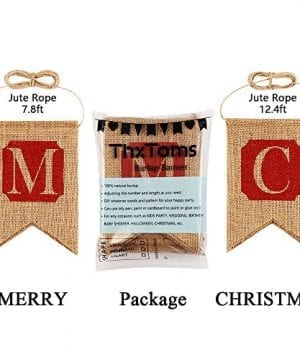 ThxToms Merry Christmas Burlap Banner Red Decor For Mantel Tree Yard Door 0 3 300x360