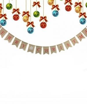 Tinksky Merry Christmas Banner Burlap Butting Garland Banner For Christmas Decoration 0 0 300x360