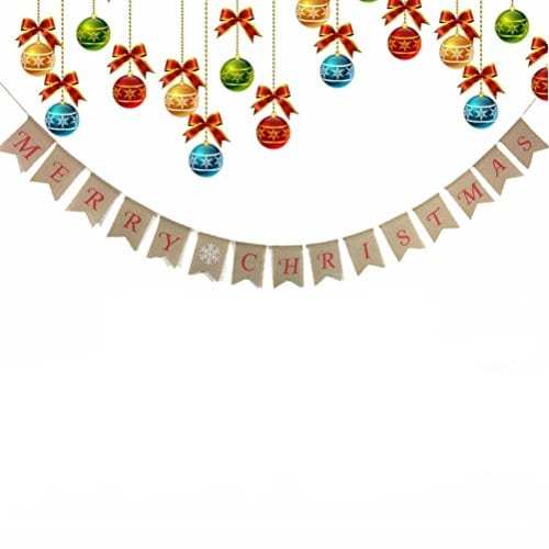 Tinksky Merry Christmas Banner Burlap Butting Garland Banner For Christmas Decoration 0 0