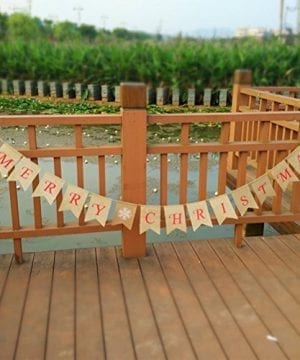 Tinksky Merry Christmas Banner Burlap Butting Garland Banner For Christmas Decoration 0 1 300x360