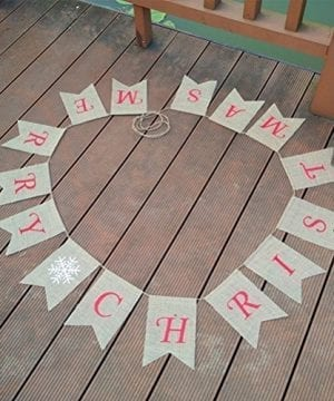 Tinksky Merry Christmas Banner Burlap Butting Garland Banner For Christmas Decoration 0 2 300x360