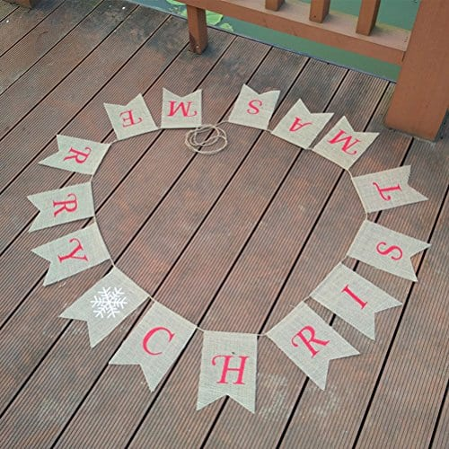 Tinksky Merry Christmas Banner Burlap Butting Garland Banner For Christmas Decoration 0 2