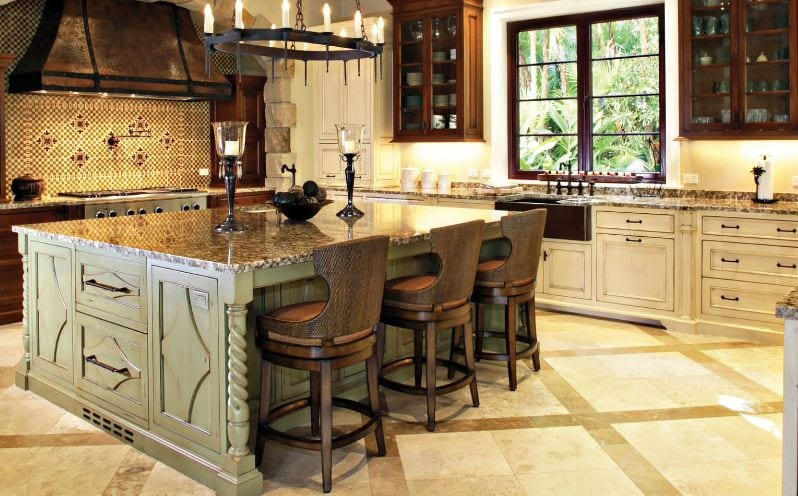 Traditional Kitchen with Large Island by Marble of the World