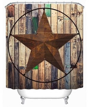 Uphome Rustic Vintage Star On Wooden Bathroom Shower Curtain Brown Unique Custom Polyester Fabric Bath Decorative Curtain 0 300x360