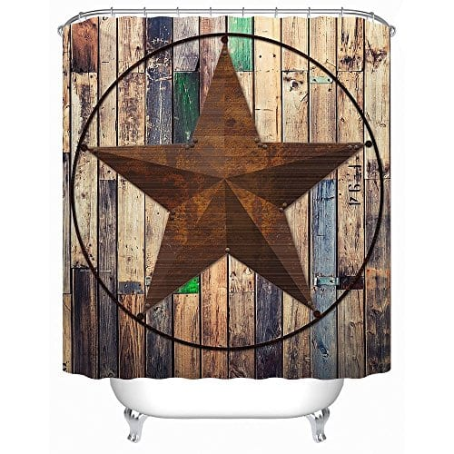 Uphome Rustic Vintage Star On Wooden Bathroom Shower Curtain Brown Unique Custom Polyester Fabric Bath Decorative Curtain 0