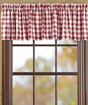 VHC Brands Classic Country Farmhouse Kitchen Window Curtains-Buffalo Check  Red Valance, 16\