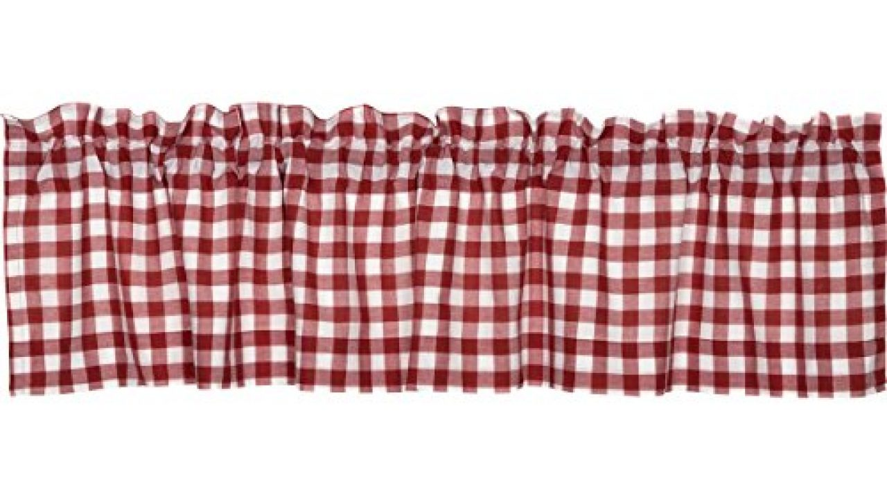 Vhc Brands Classic Country Farmhouse Kitchen Window Curtains Buffalo Check Red Valance 16 X 72 Farmhouse Goals
