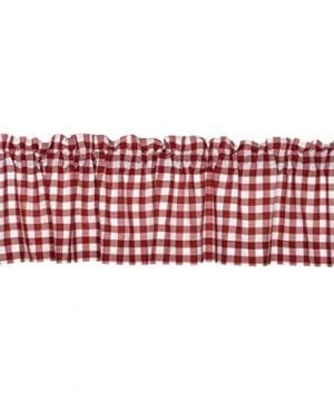 VHC Brands Classic Country Farmhouse Kitchen Window Curtains Buffalo Check Red Valance 16 X 72 0 300x360