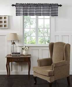 Vhc Brands Classic Country Farmhouse Kitchen Window Curtains Annie Buffalo Check White Lined Valance 16 X 60 Black