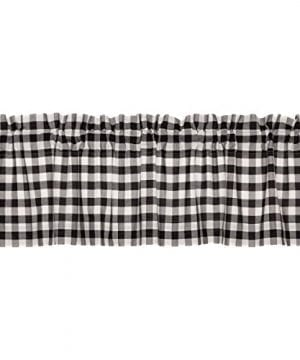 VHC Brands Farmhouse Classic Country Curtains Annie Buffalo Check Lined Valance 16 L X 60 W Black 0 300x360