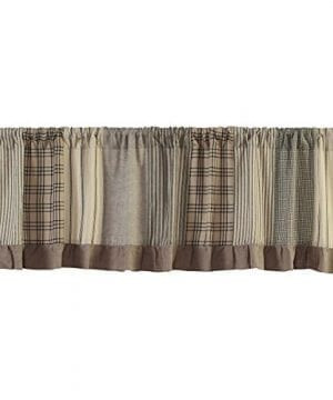 VHC Brands Farmhouse Kitchen Window Curtains Sawyer Mill Grey Patchwork Valance 19 L X 72 W Charcoal 0 300x360