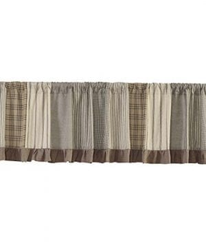 VHC Brands Farmhouse Kitchen Window Curtains Sawyer Mill Grey Patchwork Valance 19 L X 90 W Charcoal 0 300x360