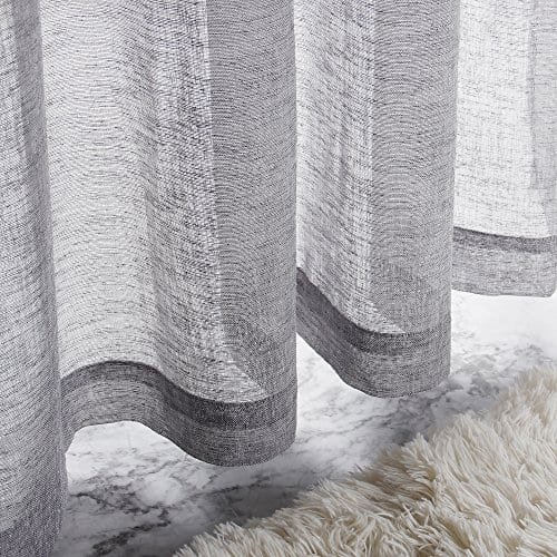 VOILYBIRD Vitoria 2 Pack Faux Linen Semi Sheer Curtains For Living Room 0 2