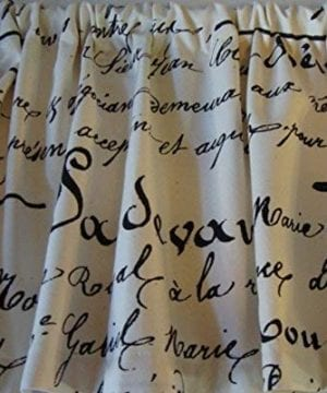 Valance Black French Script Writing On Off White Cream Background Window Treatment Topper Custom Made 0 300x360
