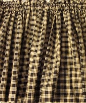 Valance Homespun Black And Tan Country Primitive Theme Curtain Window Treatment Extra Wide 0 0 300x360