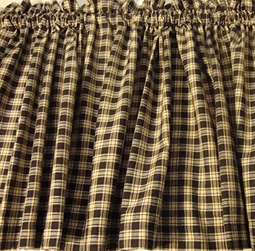 Valance Homespun Black And Tan Country Primitive Theme Curtain Window Treatment Extra Wide 0 0