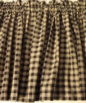 Valance Homespun Black And Tan Country Primitive Theme Curtain Window Treatment Extra Wide 0 300x360