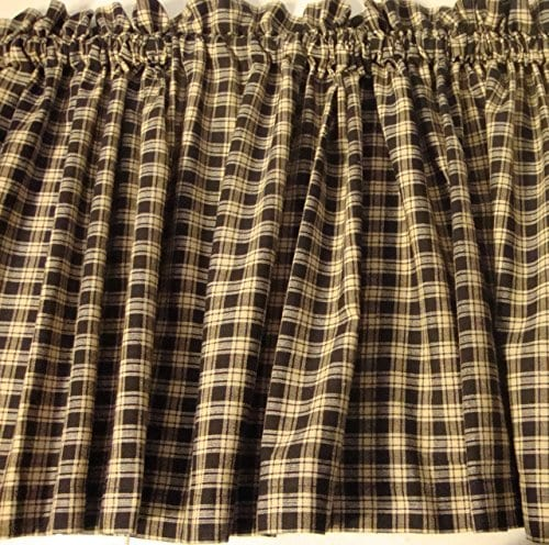Valance Homespun Black And Tan Country Primitive Theme Curtain Window Treatment Extra Wide 0
