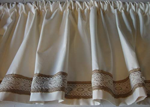 Valance Ivory Off White With Burlap Lace Trim Custom Made Topper Window Treatment 0