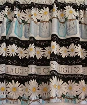 Valance Mason Jars Daisies Live Laugh Love Valance Custom Made 58 W X 155 L Farmhouse 0 300x360