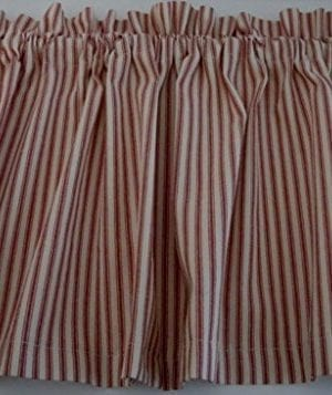 Valance Red And Cream Ticking Cotton 42 W X 14 L Window Treatment Curtain 0 300x357